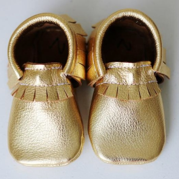 174bf44079b47 Gold baby Moccs moccasins